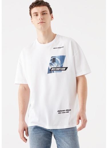 Mavi Distortion Baskılı  Tişört Beyaz